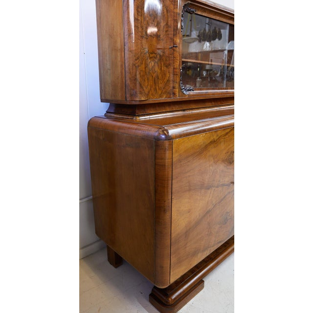 Brown Art Deco Walnut Burl Wood Sideboard or Bar Cabinet For Sale - Image 8 of 13
