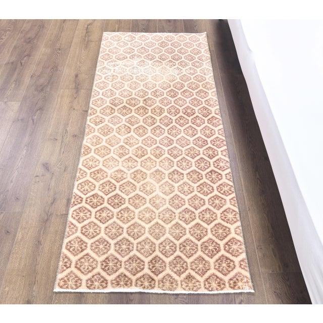 Vintage Turkish Hand-Knotted Runner Rug is a semi-antique vintage rug. '50s Eastern region of Turkey's unique rug is...