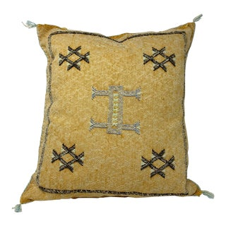 Tribal Sabra Silk Moroccan Pillow Cover For Sale