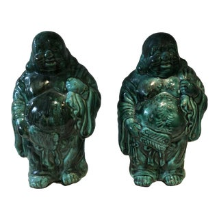 Midcentury Dripped Buddha, a Pair For Sale