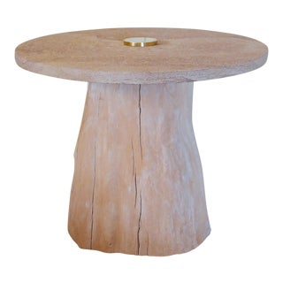 Michael Taylor Style Cypress and Stone Side Table For Sale