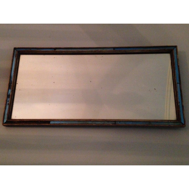 Pair of simple and elegant English Regency-period mirrors with gesso frames, cobalt glass filet.