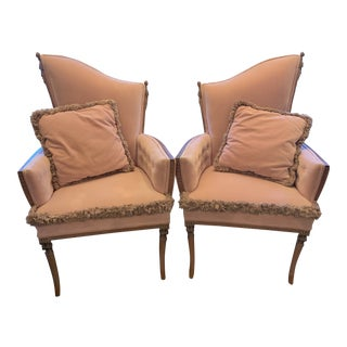 1940s Pink Grosfeld House Fringe Trim Chairs - a Pair For Sale