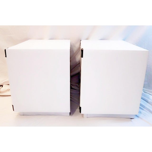 Campaign 1960s Drexel Accolade White Lacquered Campaign Nightstands - a Pair For Sale - Image 3 of 12