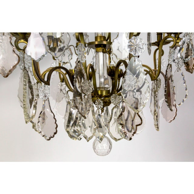 Tall Bronze Belle Epoque 21-Light Chandelier W/ Smoke & Mauve Crystals For Sale - Image 12 of 13