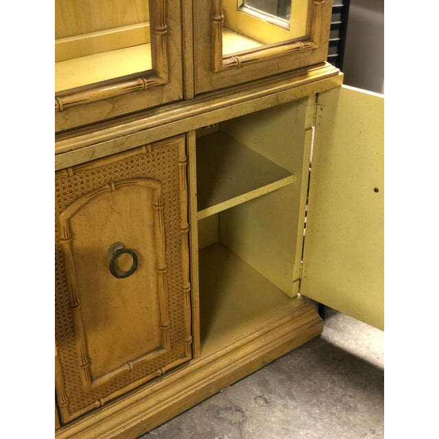 Wood Vintage Yellow Faux Bamboo China Cabinet For Sale - Image 7 of 13