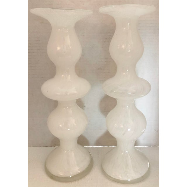 Italian Handblown Murano Candleholders - a Pair For Sale - Image 3 of 7