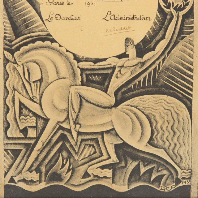 """Rare French Art Deco print on paper, featuring a diploma from a French automobile magazine named """"l'Auto"""". Original design..."""
