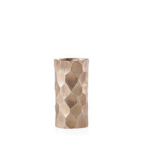 Kenneth Ludwig Chicago Brushed Gold Cylinder Vase For Sale - Image 4 of 4
