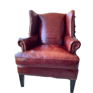 Genuine Leather Wingback Chair For Sale