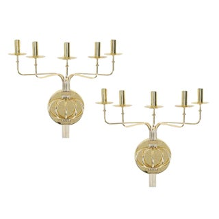 1950's vintage TOMMI PARZINGER BRASS WALL CANDELABRA- a pair For Sale