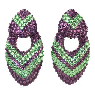 1980s Vintage Purple & Green Pave Crystal Clip on Earrings - a Pair For Sale