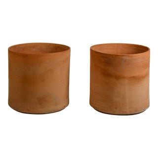 Large Unglazed Architectural Terracotta Planters by Gainey Ceramics - a Pair For Sale