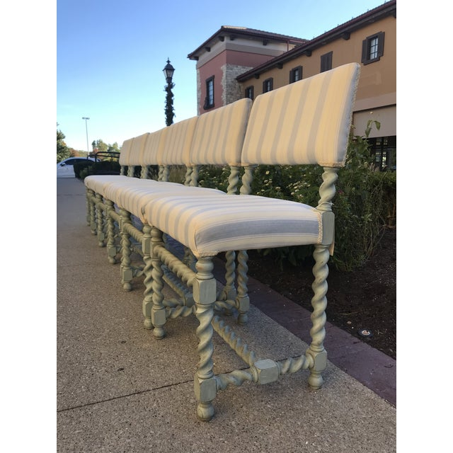 Fabric Barley Twist Chairs - Set of 6 Gustavian Style For Sale - Image 7 of 10