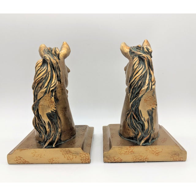 20th Century Neoclassical Gold Painted Horse Head Bookends - a Pair For Sale In Houston - Image 6 of 8