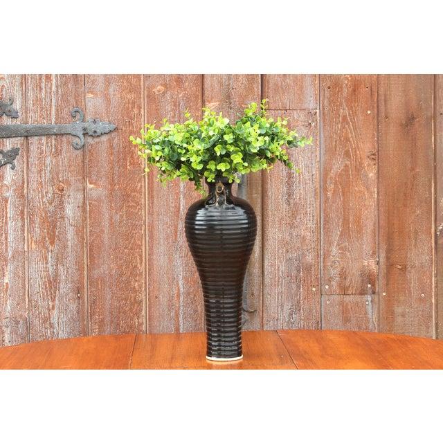 Black Unique Asian Rooster Vase For Sale - Image 8 of 9