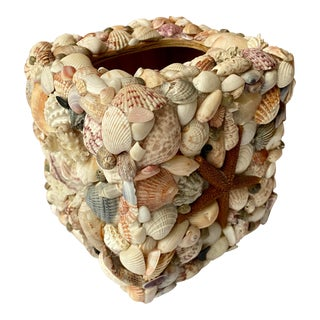 Vintage Shell Encrusted Tissue Box Cover For Sale