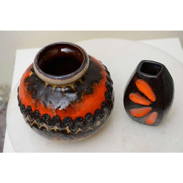 Mid-Century Modern Two Ceramic German Textural Vases/Vessels/Objects For Sale - Image 3 of 10