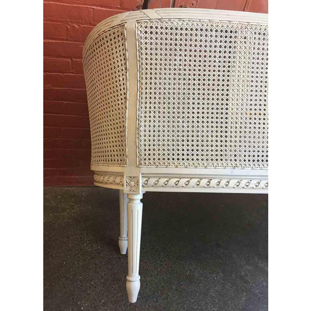French Late 20th Century White Caned Settee For Sale - Image 3 of 10