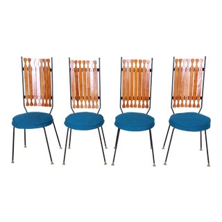 Arthur Umanoff for Shaver-Howard Mid-Century Modern High Back Dining Chairs - Set of 4 For Sale