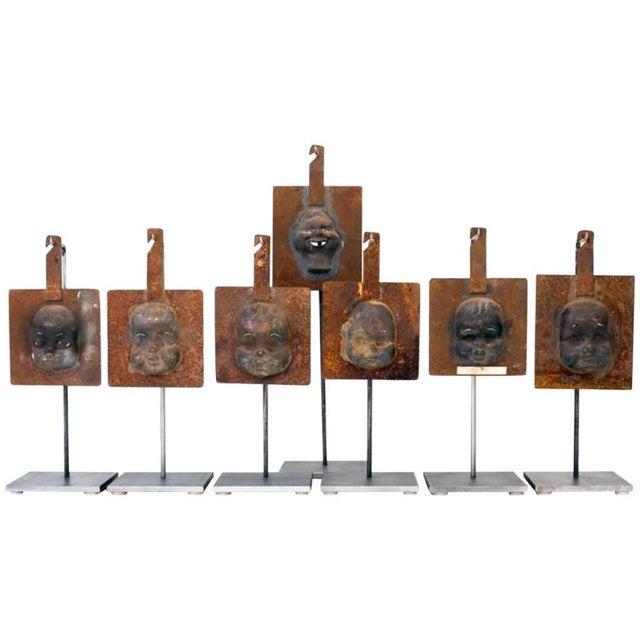 Decorative Metal Doll Head Molds Objet de Virtu on Custom Stands For Sale In Chicago - Image 6 of 6