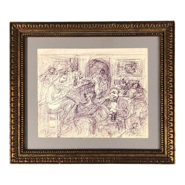 Original Vintage Ink Drawing Interior Bar Scene W/ Figures For Sale