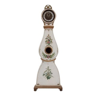 Antique Beige Mora Clock With Painted Flowers