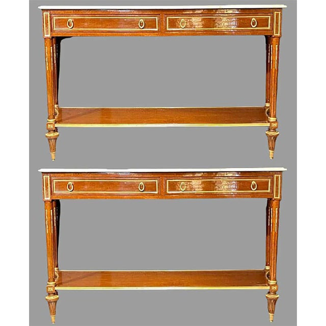 French Pair of Louis XVI Style Marble Top Consoles / Sideboards in the Jansen Manner For Sale - Image 3 of 13