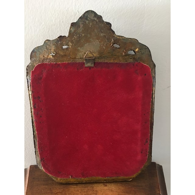 Antique Small Decorative Gilt Mirror For Sale - Image 5 of 6