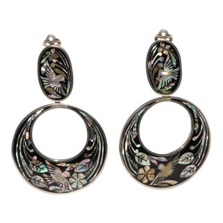 Mexican Silver Large Mother of Pearl Inlay Dangle Hoop Earrings Mop Fuentes For Sale