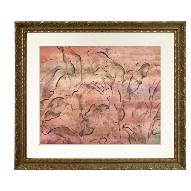 Vintage Mid-Century Modern Abstract Foliate Painting For Sale
