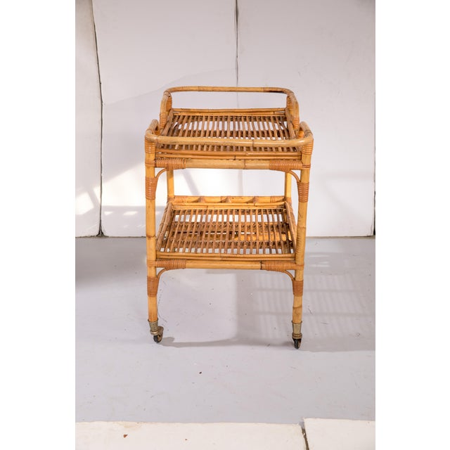 Boho Chic Mid-Century Rattan Bar Cart For Sale - Image 3 of 9