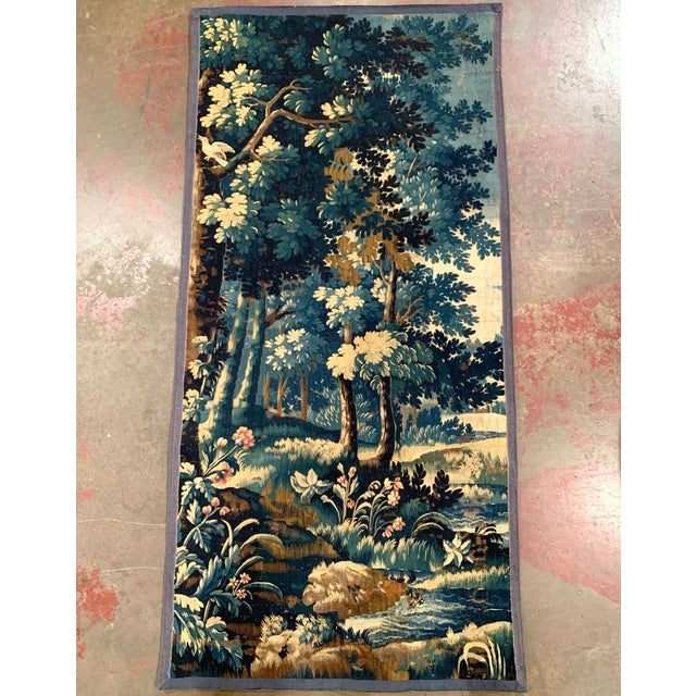 Mid-18th Century French Verdure Aubusson Tapestry With Trees and Foliage For Sale - Image 13 of 13