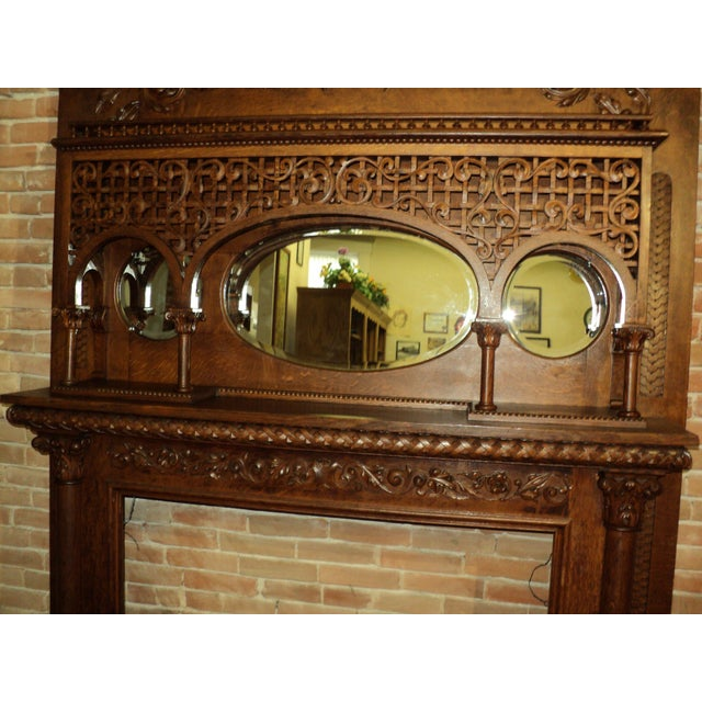 Late 19th Century Late 19th Century Highly Carved Oak Fireplace Mantel For Sale - Image 5 of 12
