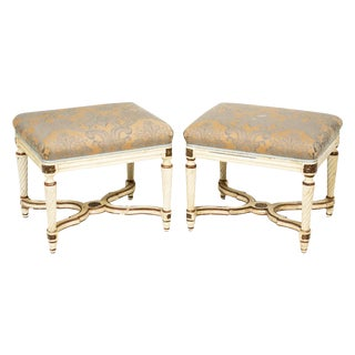 Early 20th Century Louis XVI Gilded Upholstered Benches - a Pair