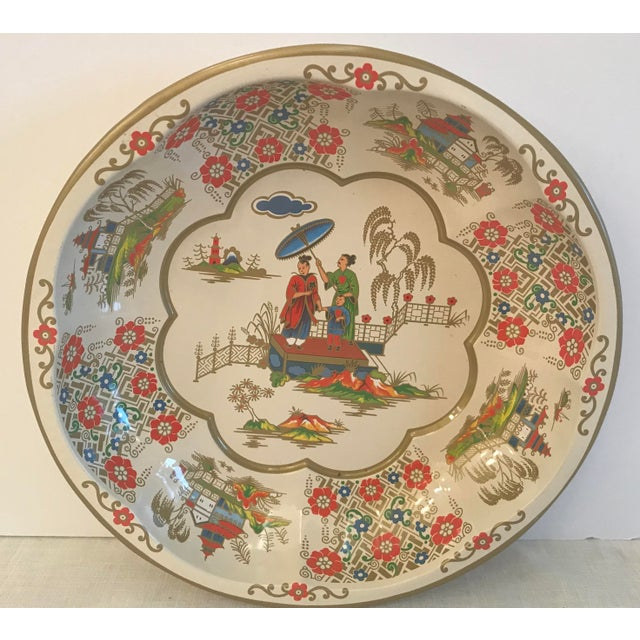 Vintage Oriental Theme English Tin Bowl For Sale - Image 9 of 9
