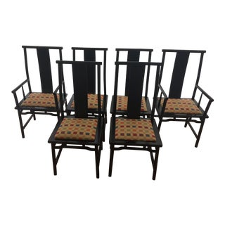 1970s Ming Style Black Lacquer Dining Chairs - Set of 6 For Sale