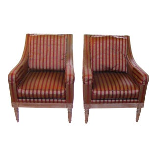 20th Century Henredon Upholstery Collection Wingback Arm Chairs - a Pair