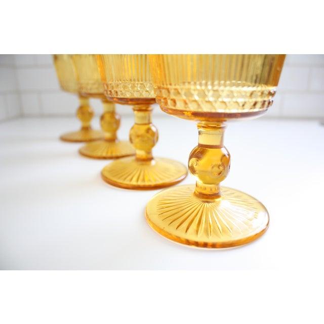 Vintage Amber Glass Goblets - Set of 4 - Image 4 of 7