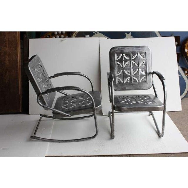 Mid-Century Modern Mid Century Metal Garden Chairs- A Pair For Sale - Image 3 of 6