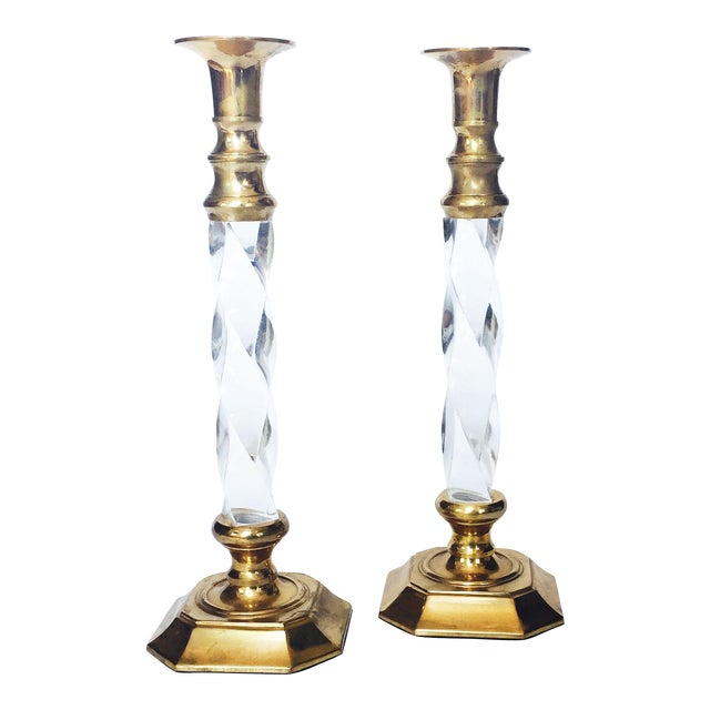 Vintage Tall Brass and Twisted Lucite Candlestick Holders - A Pair - Image 1 of 6