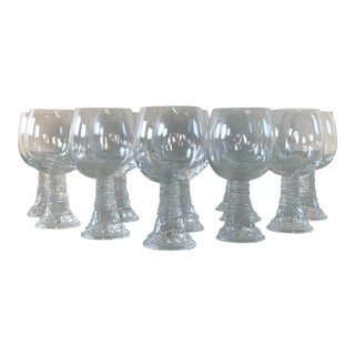 Vintage 1970s Leaf & Bubble Accented Wine Stems, Set of 14 For Sale