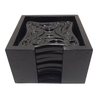 Set of 6 Black Lacquer Cocktail Coasters With Holder