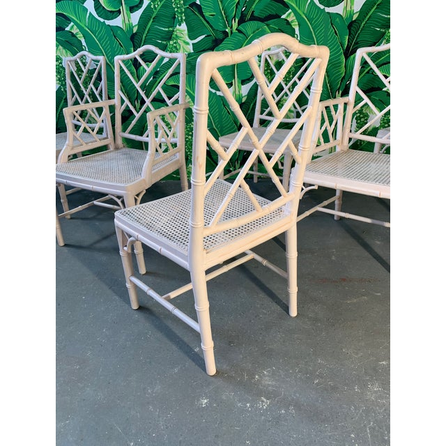 Chinese Chippendale Faux Bamboo Dining Chairs - Set of 6 For Sale - Image 4 of 9