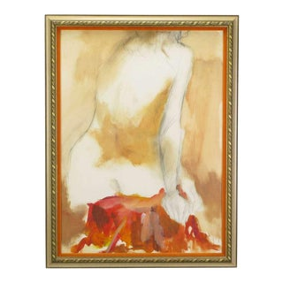 Ed Rosen (American, 1928-2012) Abstract Nude Oil & Pencil On Paper For Sale