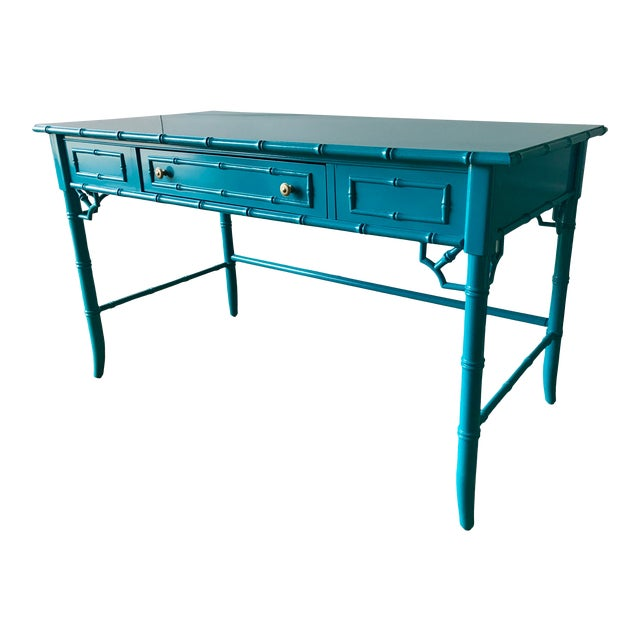 Thomasville Lacquered Faux Bamboo Desk For Sale