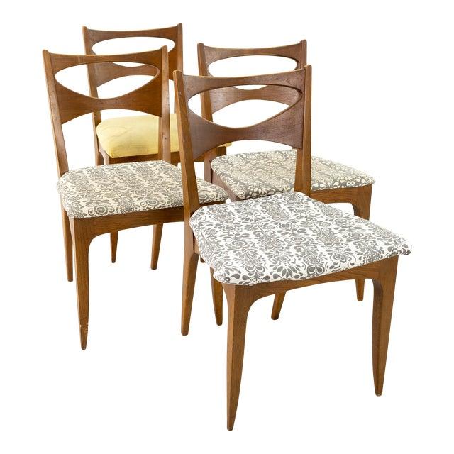 John Van Koert for Drexel Profile Mid Century Walnut Dining Chairs - Set of 4 For Sale