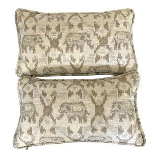 Grey Tan Elephant Maharani Lumbar Pillows - A Pair For Sale