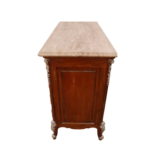 Mission Avenue Studio Carved French Dresser With German Marble Top For Sale - Image 4 of 6