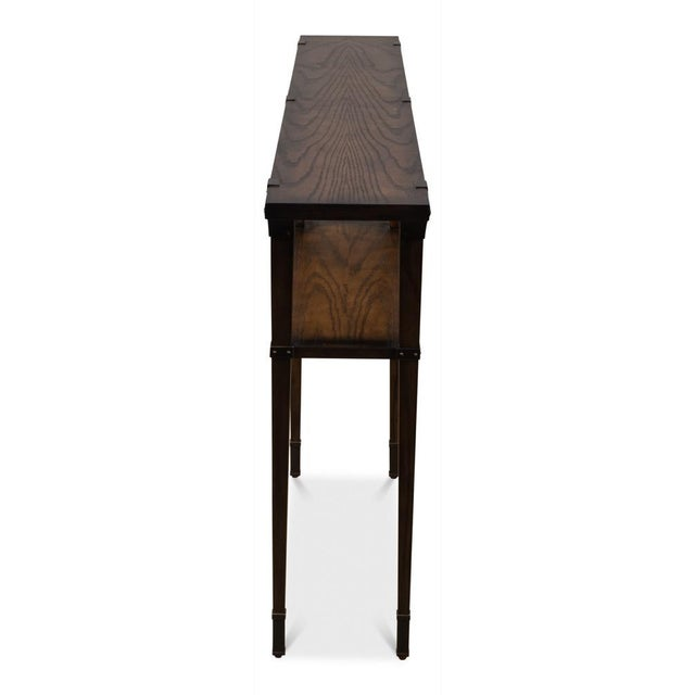 Sarreid Ltd. Boulevard Console Table,Burnt Brown Oak For Sale - Image 4 of 7